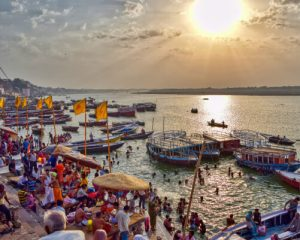 Boats standing at varanasi ghat
